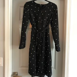 Who What Wear Black Long Sleeved Dress with Belt